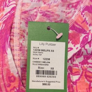 Lilly Pulitzer Sz XS Duval Top Rule Breakers